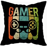 TOMKEY Hidden Zippered Pillowcase Gamer Game Controller 18X18Inch,Decorative Throw Custom Cotton Pillow Case Cushion Cover fo