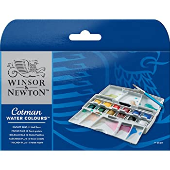 ウィンザー&ニュートン 水彩絵具 ウィンザー&ニュートン コットマン ウォーターカラー 12色セット ポケットボックス PLUSセット ハーフパン