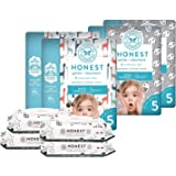 The Honest Company Super Duper Club Box with TrueAbsorb Baby Diapers & Honest Baby Wipes | Size 5 | Eco-Friendly Diapers | Hy