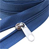 YaHoGa #3 Blue Nylon Coil Zippers by The Yard Bulk 10 Yards with 25pcs Sliders for DIY Sewing Tailor Crafts Bags (#3 Blue)
