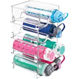 mDesign Plastic Freestanding Water Bottle Storage Organizer for Kitchen Countertop, Table, Pantry, Fridge - Holds Water Bottl