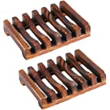 2 PCS Natural Wood Hollow Out Soap Dish Storage Holder Drain Rack for Bathroom