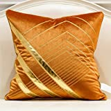Avigers 20 x 20 Inches Orange Gold Leather Striped Embroidered Cushion Cases Luxury European Throw Pillow Covers Decorative P