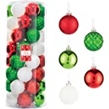 Every Day is Christmas Balls Set of 50 Tree Ball Ornaments for Home Holiday Shatterproof Decoration (Green, Red, White)
