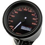 デイトナ バイク用 電気式スピードメーター 200㎞/h ブラックφ48(非接触センサー無し) VELONA 3色LED 91683