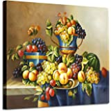 Canvas Wall Art for Kitchen: Summer Twig in Aqua Color Graphic Art Print f on Canvas Pictures for Wall, Canvas, Wood, Set - 7
