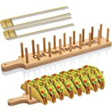 Bamboo Taco Holder Stand Plate Tray with 2 Tongs - Rack Holds 8 Soft or Hard Shell Tacos - Great also for Burritos and Tortil