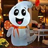 GOOSH 4Foot High Halloween Inflatable Halloween White Ghost with Build-in LED Light Blow Up Inflatables for Halloween Party I