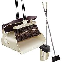 ほうき ちりとり 立て式掃除セット 蓋付き防臭 掃きこぼれにくいちりとり:収納 126cm調節可能ノブ付き 自立式 腰曲…
