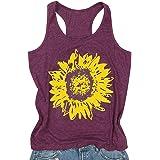 DTRTHGT Summer Sunflower Tank Tops Women Cute Graphic Sleeveless Tees Shirts Casual Print Vest Vacation T-Shirt