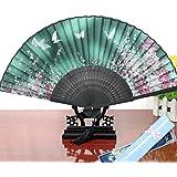 Jinchuan 扇子 レーディス 扇子袋&箱付き シルク扇子 絹 桜柄 花柄 蝶柄 折りたたみ式 和装小物 女性 男性 和風扇子3点セット ダンス おみやげ