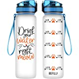 Coolife 32oz 1 Liter Motivational Tracking Water Bottle with Hourly Time Marker - Drink Your Water Right Meow - Funny Birthda