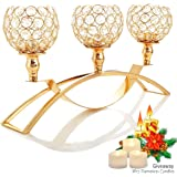 Autai Gold Crystal Candle Holders,3-Candle Candelabras,Table Centerpieces for Wedding/Holiday/Birthday Party Dining Table Can