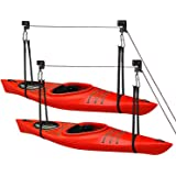 Great Working Tools Kayak Hoist Lift, Hanging 2 Pulley System - 2-Pack Heavy Duty Garage Ceiling Mount 125 Pound Capacity Per