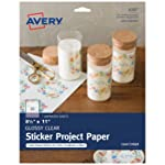 "Avery Glossy Clear Full-Sheet Sticker Project Paper, 8-1/2"" x 11"", 7 Sheets (4397)"