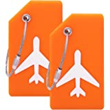 Silicone Luggage Tag With Name ID Card Perfect to Quickly Spot Luggage Suitcase (Plane 2Pcs Orange)
