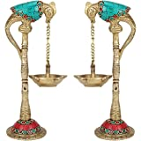 PARIJAT HANDICRAFT Pair of Bird Brass Diya for Puja Room Large Size Parrot Oil Diya Hanging in Chain from Beak in Colored Sto