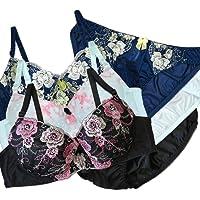 大きいサイズ ブラ福袋 フェミニン 刺繍ブラ 3セット 下着福袋(x-053)