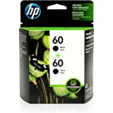 HP 60 | 2 Ink Cartridges | Black | Works with HP DeskJet D2500 Series, F2430, F4200 Series, F4400 Series, HP ENVY 100, 110, 1
