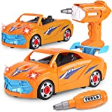 REMOKING Take Apart Racing Car,Kids 2 in 1 Remote Control Car Toy for Education,Pretend Play Toy with Electric Drill,Sounds &