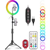 """Neewer 12"""" RGB Selfie Ring Light with Stand, Dimmable LED Ringlight with 48-inch Tripod Stand, Phone Holder, Remote Control,"""