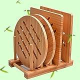 Bamboo Trivet Kitchen Bamboo Hot Pads Trivet Natural Bamboo Trivet Mat Set for Hot Dishes/Pot/Bowl/Teapot/Hot Pot Holders 2 s