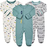 Baby Footed Pajamas with Mittens - 3 Pcs Infant Girls Boys Footie Onesies Sleeper Newborn Cotton Sleepwear Outfits