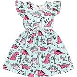HAPPYMA Toddler Baby Girl Summer Dress Dinosaur Flutter Sleeve Dresses Outfits for Baby Girl Sundress Skirts Clothes
