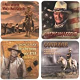 John Wayne Coasters -Set of Four: American Legends- Courage- I'll Shoot.- Man's Got.