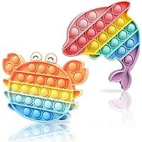 SVNVIOZ スクイーズ玩具 プッシュポップ 【日本在庫あり】動物2個セット かわいい フィジェットおもちゃ 人気 ボ…