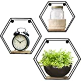 Greenco GRC2934 Geometric Hexagon Shaped Mounted Floating, Home Decor, Metal Wire and Rustic Wood Wall Storage Shelves for Be