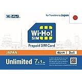 日本無制限SIMカード データ通信用 プリペイドSIM ドコモ回線 初日無料 速度制限なし (7+1日間)