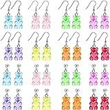 16 Pairs Bear Earring Set, Colorful Resin Candy Cartoon Bear Earrings Vsco Cute Bear Earrings