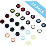 26 Pieces Thumb Grips Caps Cover Silicone Luminous Analog Controller Joystick Thumb Stick Cap, Compatible with PS4 PS3 PS2 Xb