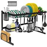 Dish Drying Rack Over The Sink - Tsmine Large Dish Drainers for Kitchen Counter,Stainless Steel Drain Bowl Dish Rack Kitchen