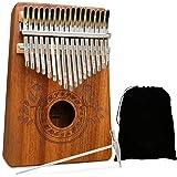 UNOKKI Unisex Kalimba 17 Keys Thumb Piano with Study Instruction and Tune Hammer, Portable Mbira Sanza African Wood Finger Pi