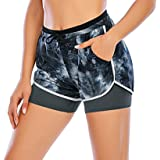 Lelinta Women Double Layer Shorts Workout Fitness Running Pants Active Yoga Gym Sport Shorts with Pockets