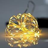 イルミネーション LED ライト ワイヤーライト 電飾 電池 式 クリスマス ツリー 飾り MANATSULIFE(2M(20LED), ウォームホワイト)