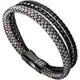 murtoo Mens Bracelet Leather Braided, Brown and Black Leather Bracelet for Men