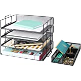 Blu Monaco Desk Organizers and Accessories Stackable Paper Tray - 4 Tier Stackable Letter Trays - Black Metal Mesh File Holde