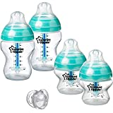 Tommee Tippee Advanced Anti-Colic Newborn Baby Bottle Feeding Set, Heat Sensing Technology, Breast-like Nipple, BPA-Free