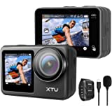 アクションカメラ XTU MAX 4K 60FPS 20MP WiFi搭載 アクションカム 2インチタッチパネル式 デュアルカラースクリーン EIS手ぶれ補正 本機防水 リモコン付き 防水ケース付き 1350mAhバッテリー 水中カメラ/ドライブレコ