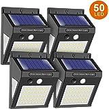 センサーライト ソーラーライト ソーラーセンサーライト 50LED 3面発光 人感センサー 太陽能発電 自動点灯 ガーデ…