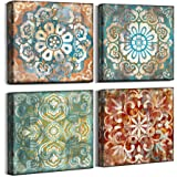 4 Piece Canvas Wall Art Ready to Hang for Bedroom Bathroom Living Room, Vintage Flower, 14x14