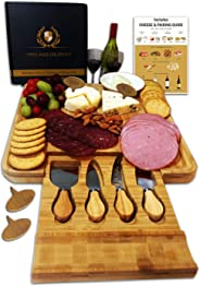 Radiant Royals Cheese Board Set, Charcuterie Board, Cheese Cutting Plate, Bamboo Serving Tray with Cutlery Knives in Drawer, Big Meat Cracker Wood Platter Plate PLUS Large Space, Magnetic Safety Lock