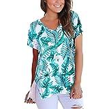FAVALIVE Womens Short Sleeve Floral Print V-Neck T-Shirt Tops