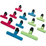 Pack of 12 Food Clips - Bag Sealing Clips - Kitchen Organisation - Seal Food Packaging - Assorted Colours and Sizes