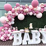 LDFWAYAU Pink Latex Balloon Arch Kit Pink Rose Gold Balloons for Baby Shower Birthday Party Wedding Graduation Background Dec