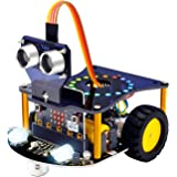 KEYESTUDIO BBC Micro bit Robot Car Kit STEM Education for Kids to Programmable Microbit DIY Coding Robot with Tutorial (Witho