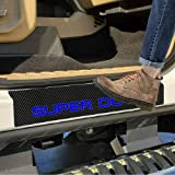 SENYAZON Super Duty Decal Sticker Carbon Fibre Vinyl Reflective Car Door Sill Decoration Scuff Plate for Ford Super Duty (Blu